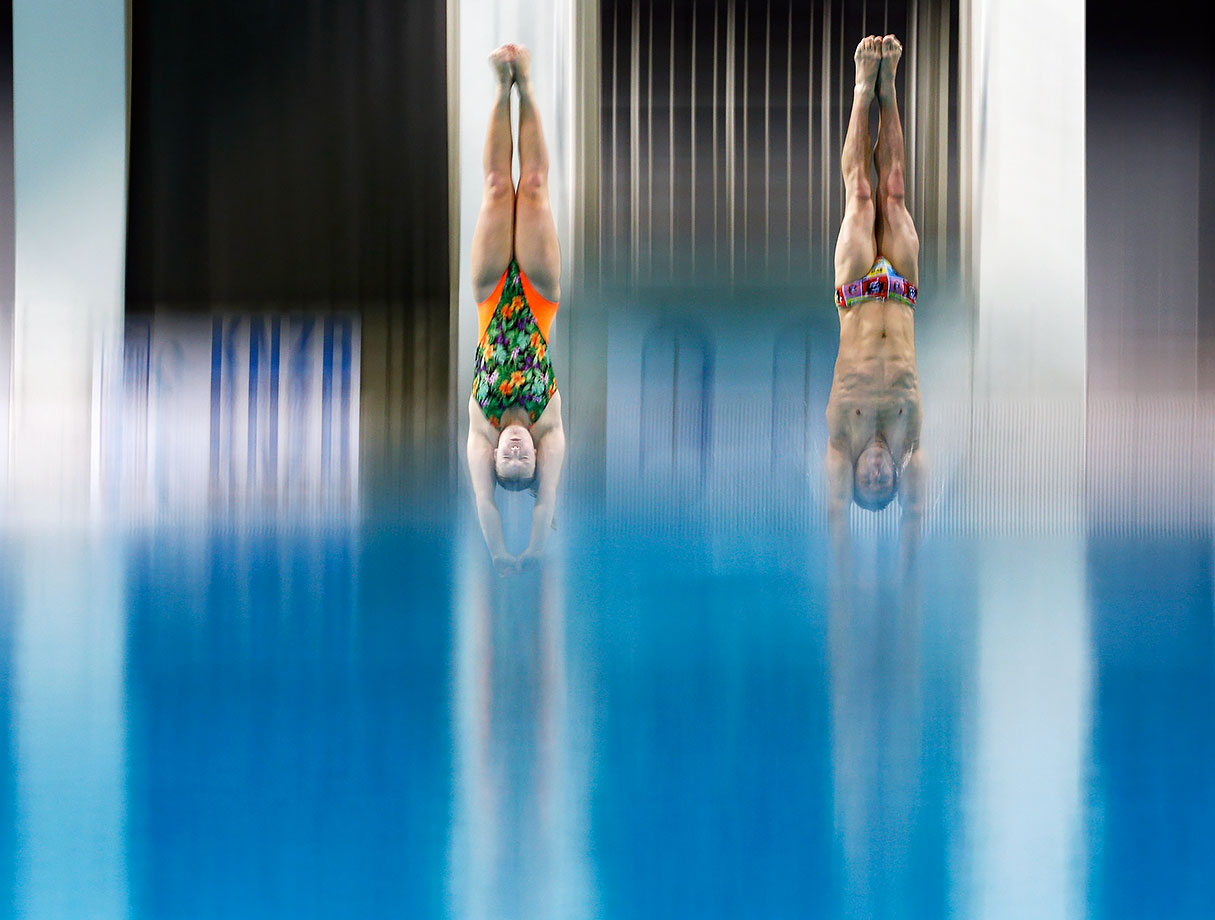 Silke Kerkhofs and Bjorn Claes of Belgium compete in the Synchro Mixed Platform Final during the Senet Diving Cup held at Pieter van den Hoogenband Swimming Stadium in Eindhoven, Netherlands.