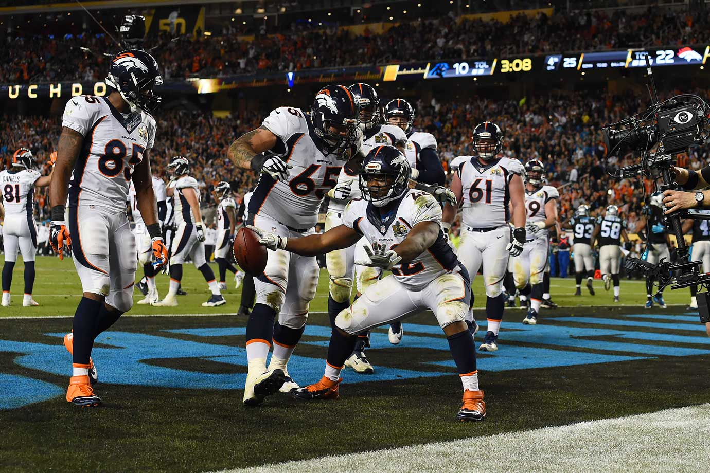 C.J. Anderson celebrates his late touchdown.