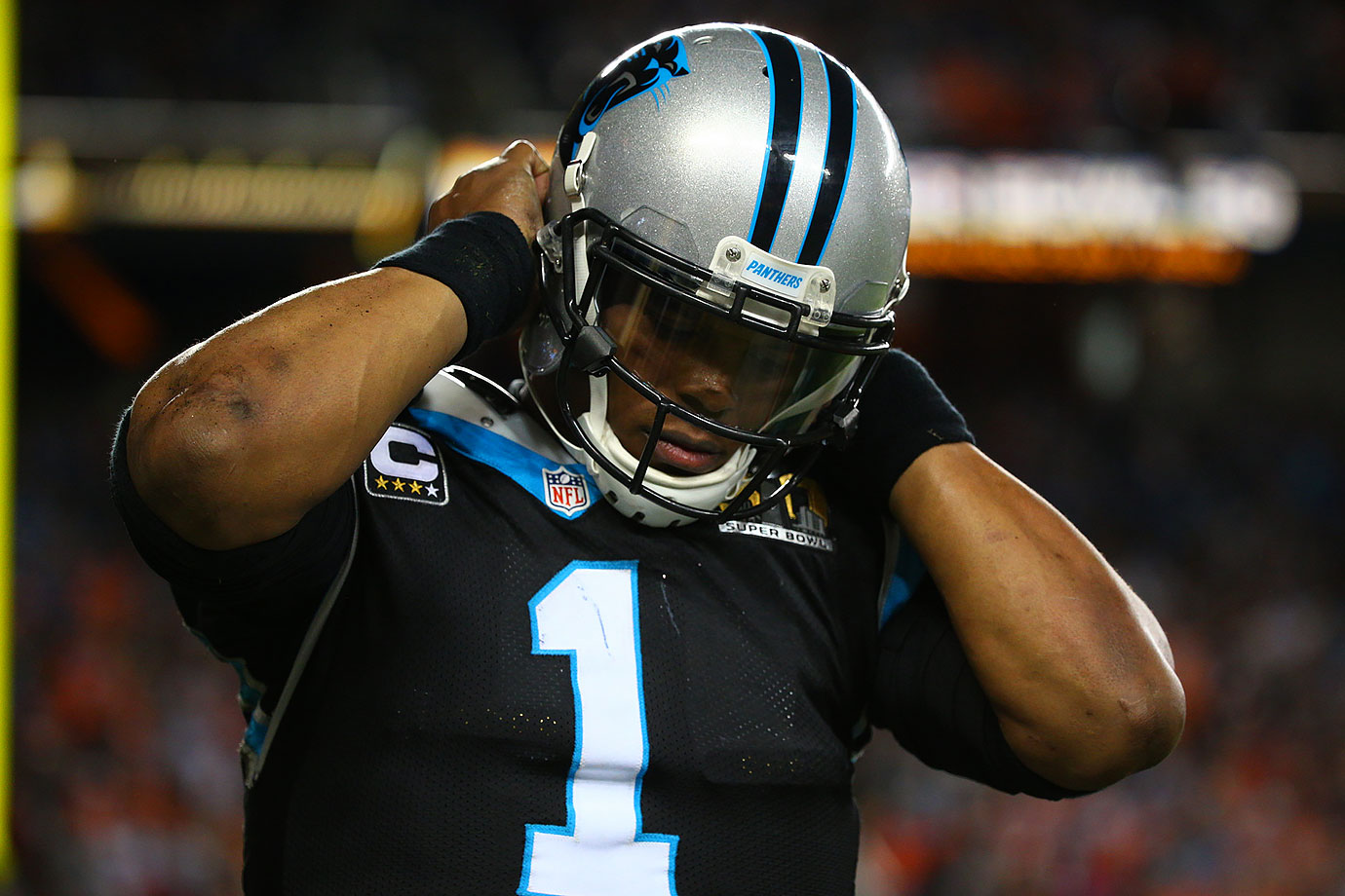 Newton was sacked six times as he struggled in the game against Denver's intimidating pass rush.