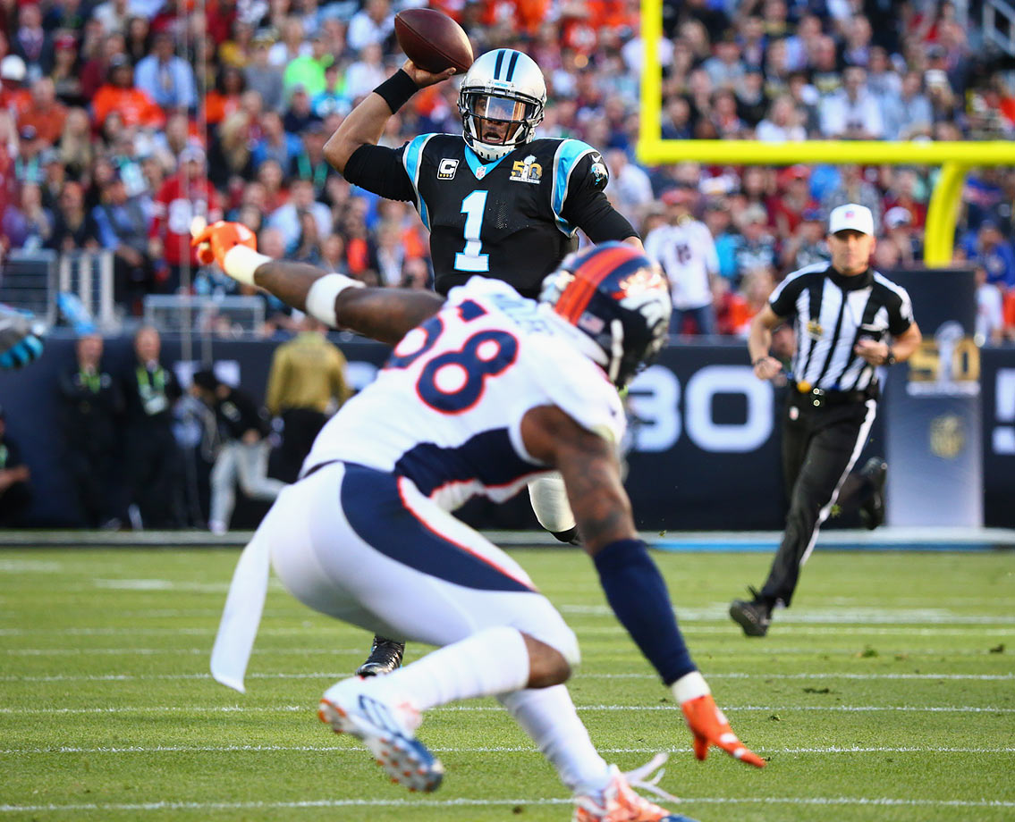 Cam Newton had a hard time dealing with Von Miller, selected one spot behind Newton in 2011, all night.