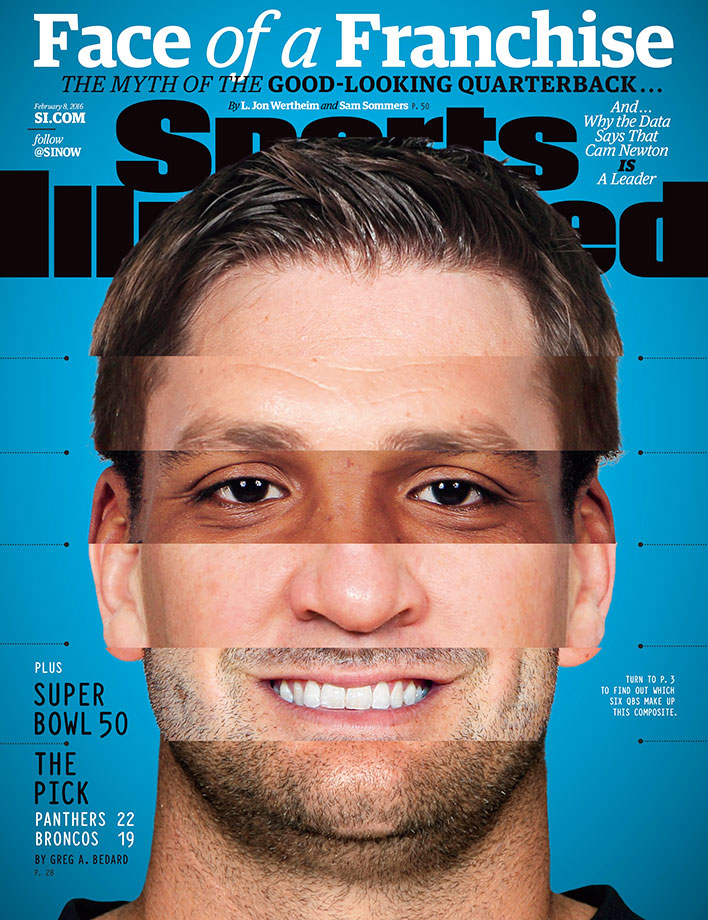 A study of quarterbacks appearance and leadership ability gets some surprising results in an excerpt which also appears in the new book This is Your Brain on Sports by L. Jon Wertheim and Sam Sommers—one a writer at SI, the other a Tufts psychology professor. Quarterbacks included in this week's cover, from top to bottom: Aaron Rodgers, Tom Brady, Cam Newton, Peyton Manning, Tony Romo and Ben Roethlisberger.
