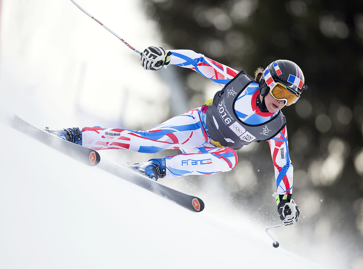 Kenza Lacheb (FRA) competes in Alpine Skiing Ladies' Super-G at the Hafjell Olympic Slope on Feb. 13, 2016 during the Winter Youth Olympic Games in Lillehammer, Norway.