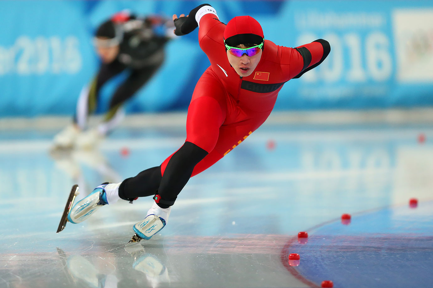 Gold medalist Li Yanzhe (CHN) competes in the Men's 500m Speed Skating race on Feb. 13, 2016 during the Winter Youth Olympic Games in Lillehammer, Norway.