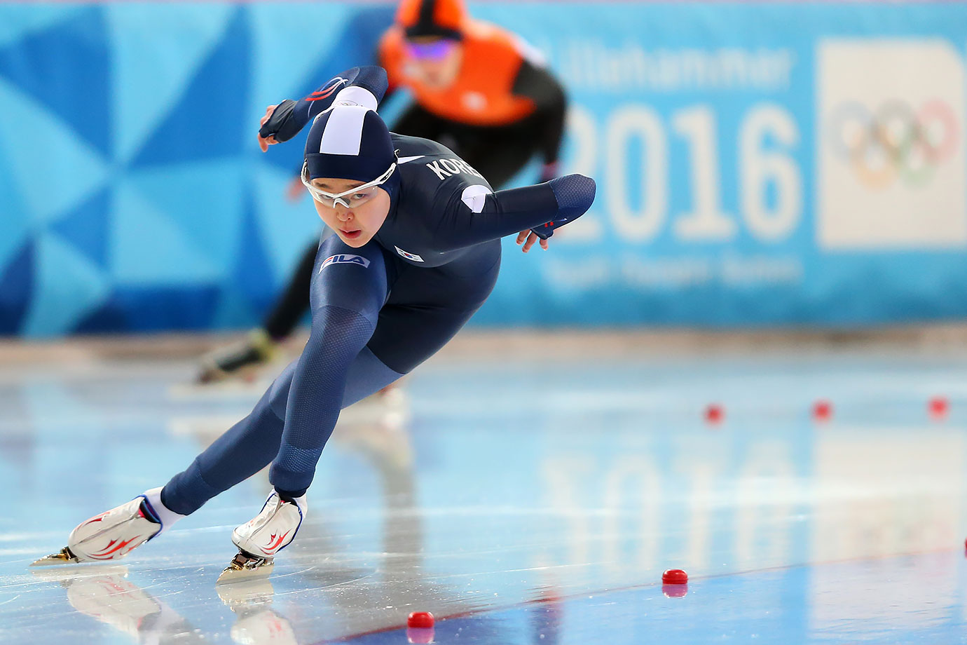 Min Sun Kim (KOR) competes in the Ladies' 500m Speed Skating race on Feb. 13, 2016 during the Winter Youth Olympic Games in Lillehammer, Norway.