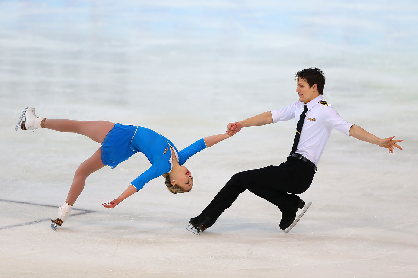 Sarah Rose and Joseph Goodpaster (USA) perform their Figure Skating Pairs Short Program at the Hamar Olympic Amphitheatre Storhamarhallen on Feb. 13, 2016 during the Winter Youth Olympic Games in Lillehammer, Norway.