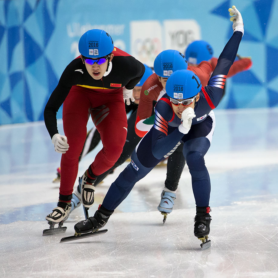 Gold medalist Daeheon Hwang (KOR), silver medalist Ma Wei (CHN) compete in the Men's Short Track 1000m finals at Gjovik Olympic Cavern Hall on Feb. 14, 2016 during the Winter Youth Olympic Games in Lillehammer, Norway.