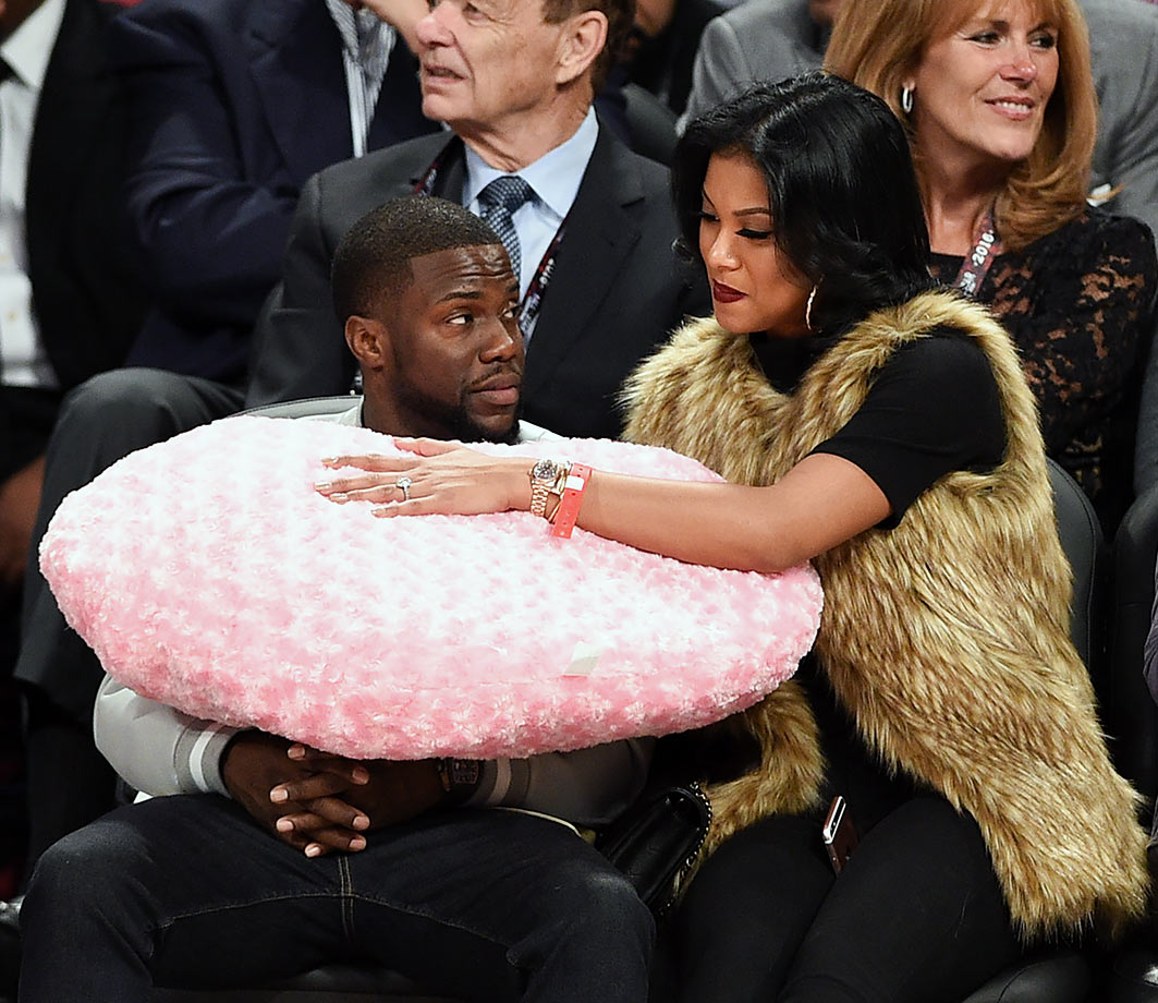 Kevin Hart and Eniko Parrish attend the 2016 NBA All-Star Game in Toronto.