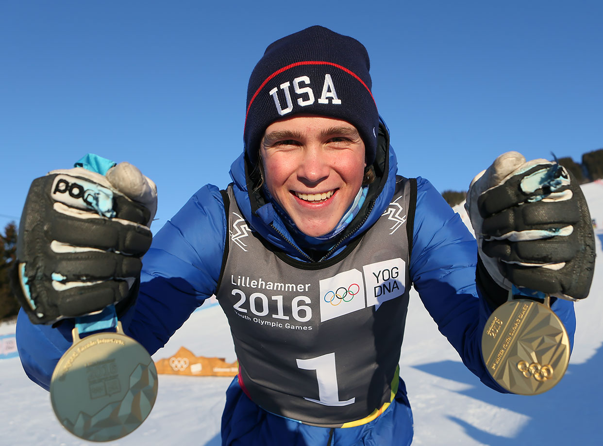 Men's Alpine Combined Slalom and Men's Super-G Gold Medal winner River Radamus (USA) poses with both Gold Medals on Feb. 14, 2016 during the Winter Youth Olympic Games in Lillehammer, Norway.