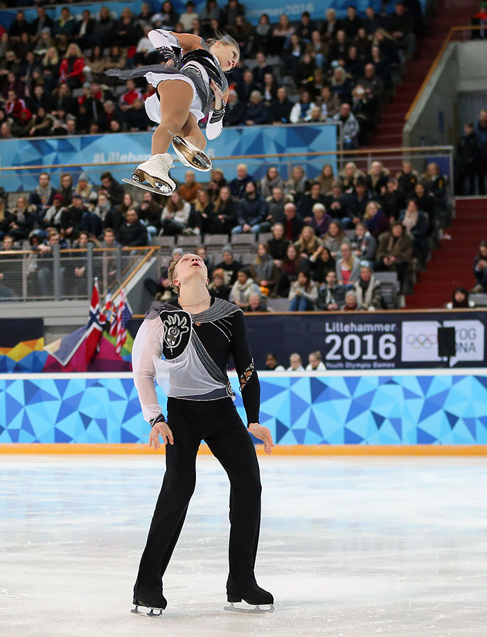 Gold medalists Ekaterina Borisova (RUS) and Dmitry Sopot (RUS) compete in the Pairs Free Figure Skating competition at Hamar Olympic Amphitheatre on Feb. 15, 2016 during the Winter Youth Olympic Games in Lillehammer, Norway.
