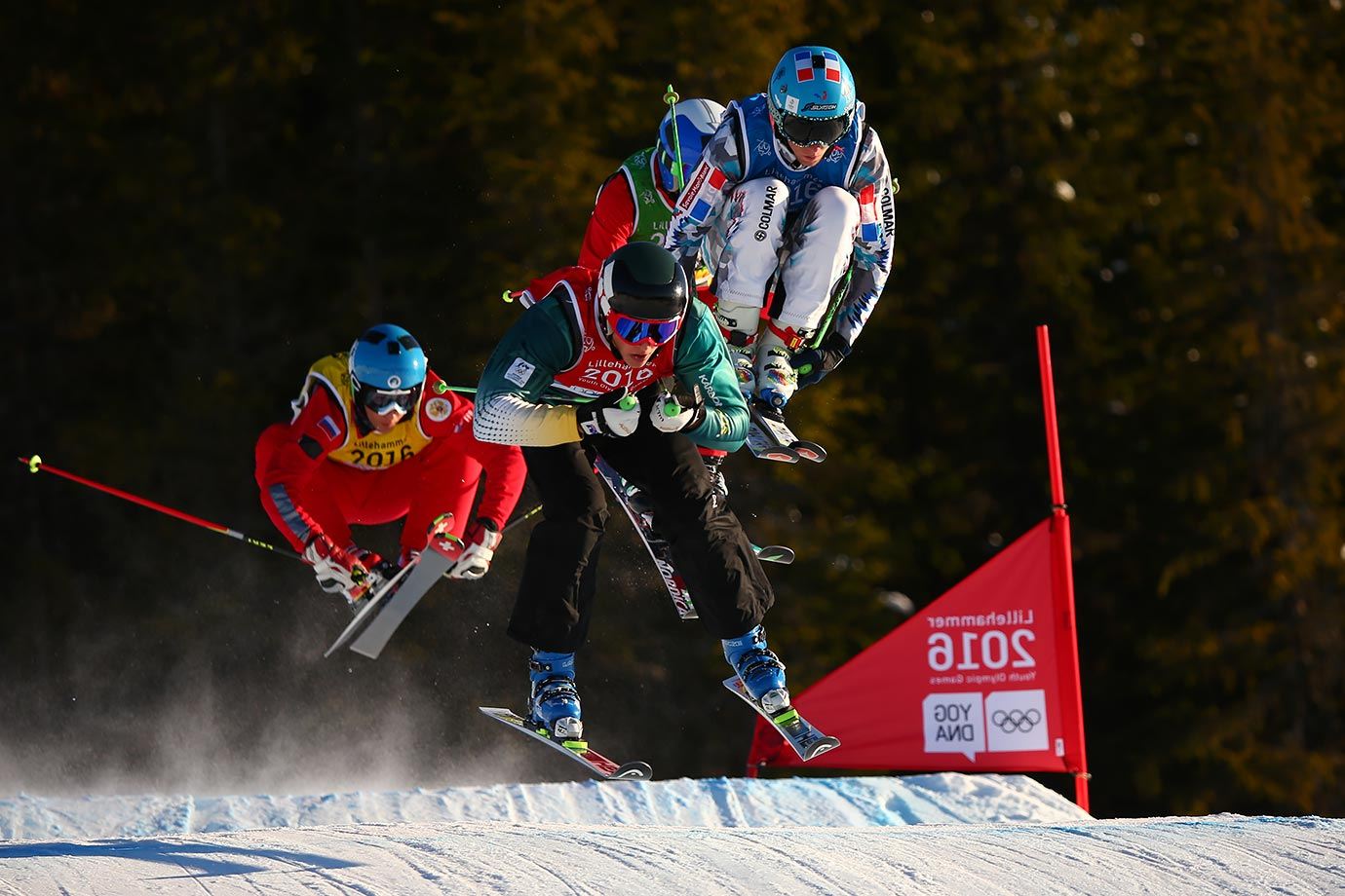 Louis Muhlen (AUS) and Matteo Lucatelli (FRA) compete in the Men's Ski Cross heats at the Hafjell Freepark on Feb. 15, 2016 during the Winter Youth Olympic Games in Lillehammer, Norway.