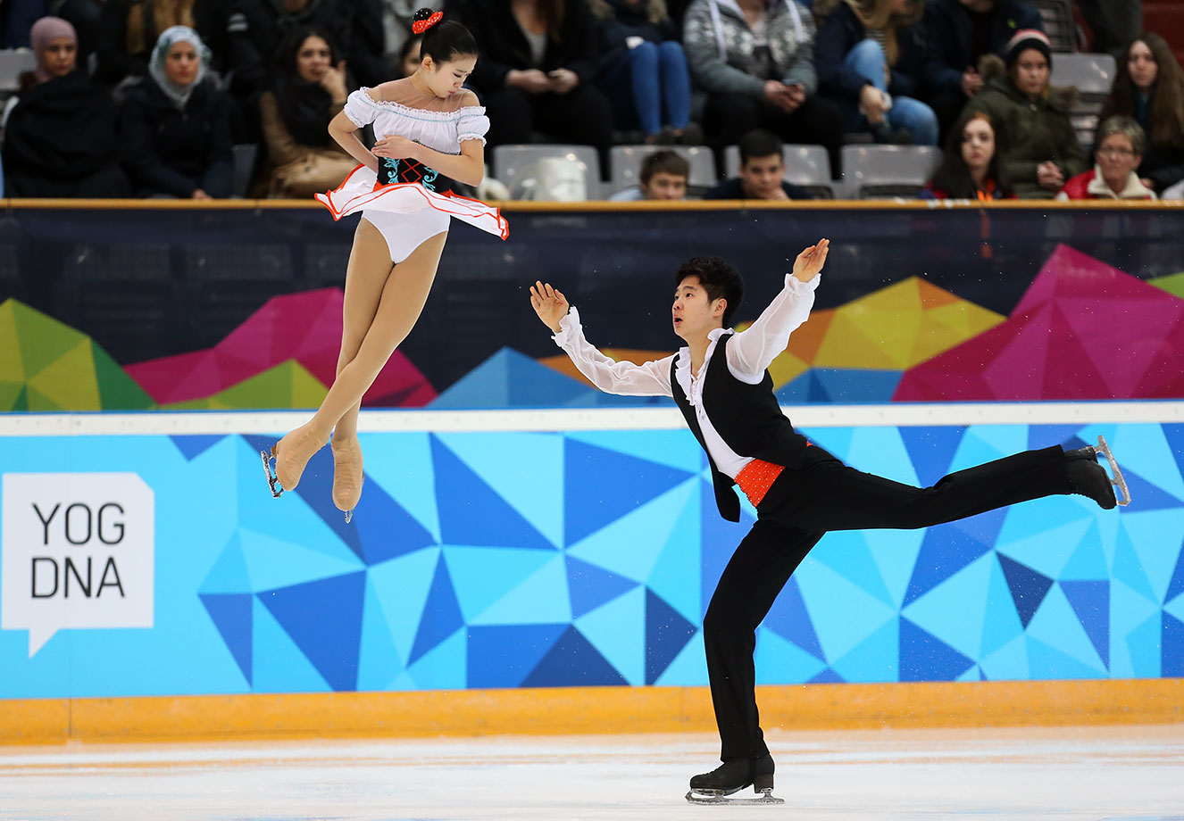 Bowen Li (CHN) and Yumeng Gao (CHN) perform in the Free Program of the Pairs Figure Skating competition at Hamar Olympic Amphitheatre on Feb. 15, 2016 during the Winter Youth Olympic Games in Lillehammer, Norway.