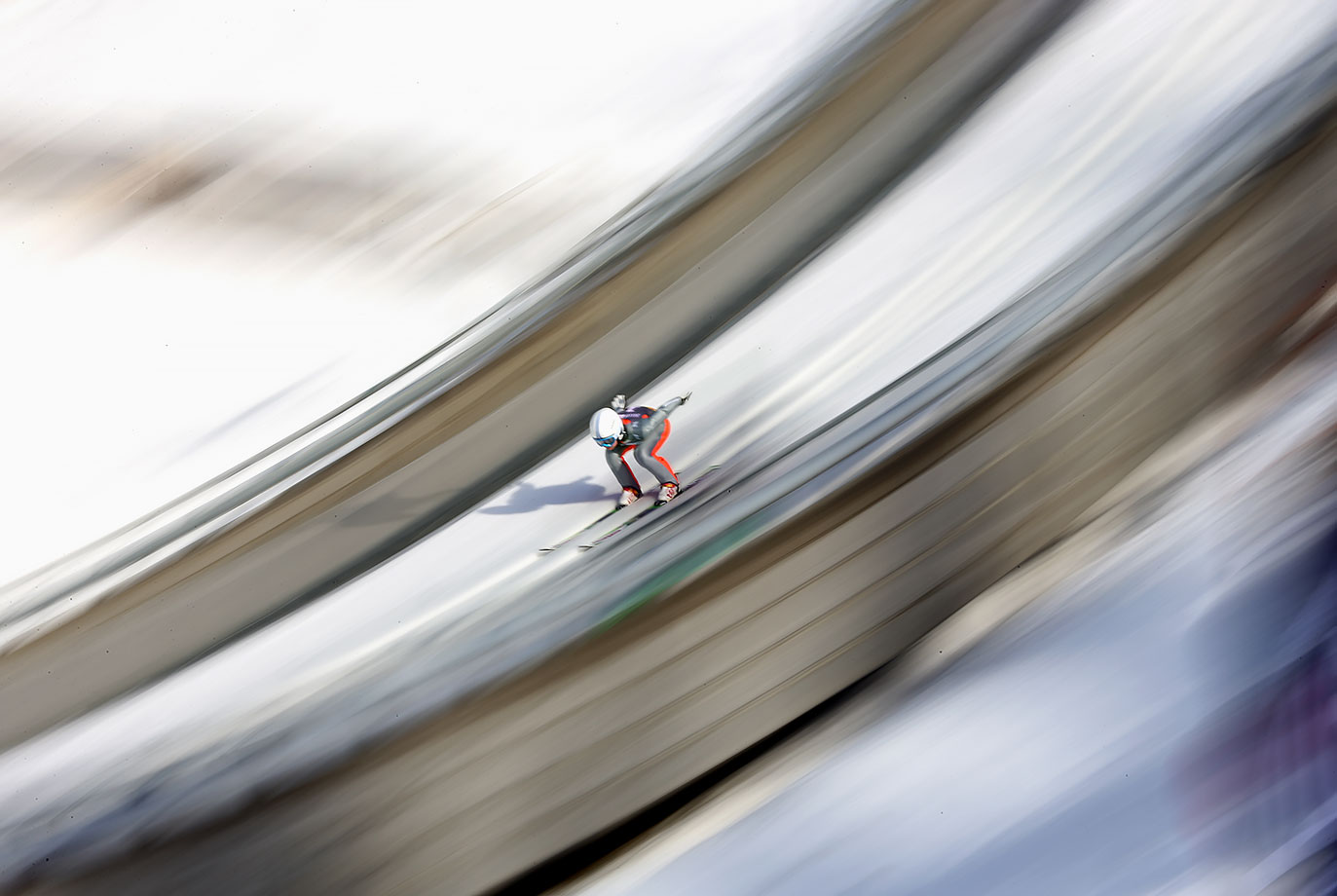 Ema Klinec (SLO) competes in the Ski Jumping Ladies' Individual Competition at Lysgårdsbakken Ski Jumping Arena on Feb. 16, 2016 during the Winter Youth Olympic Games in Lillehammer, Norway.