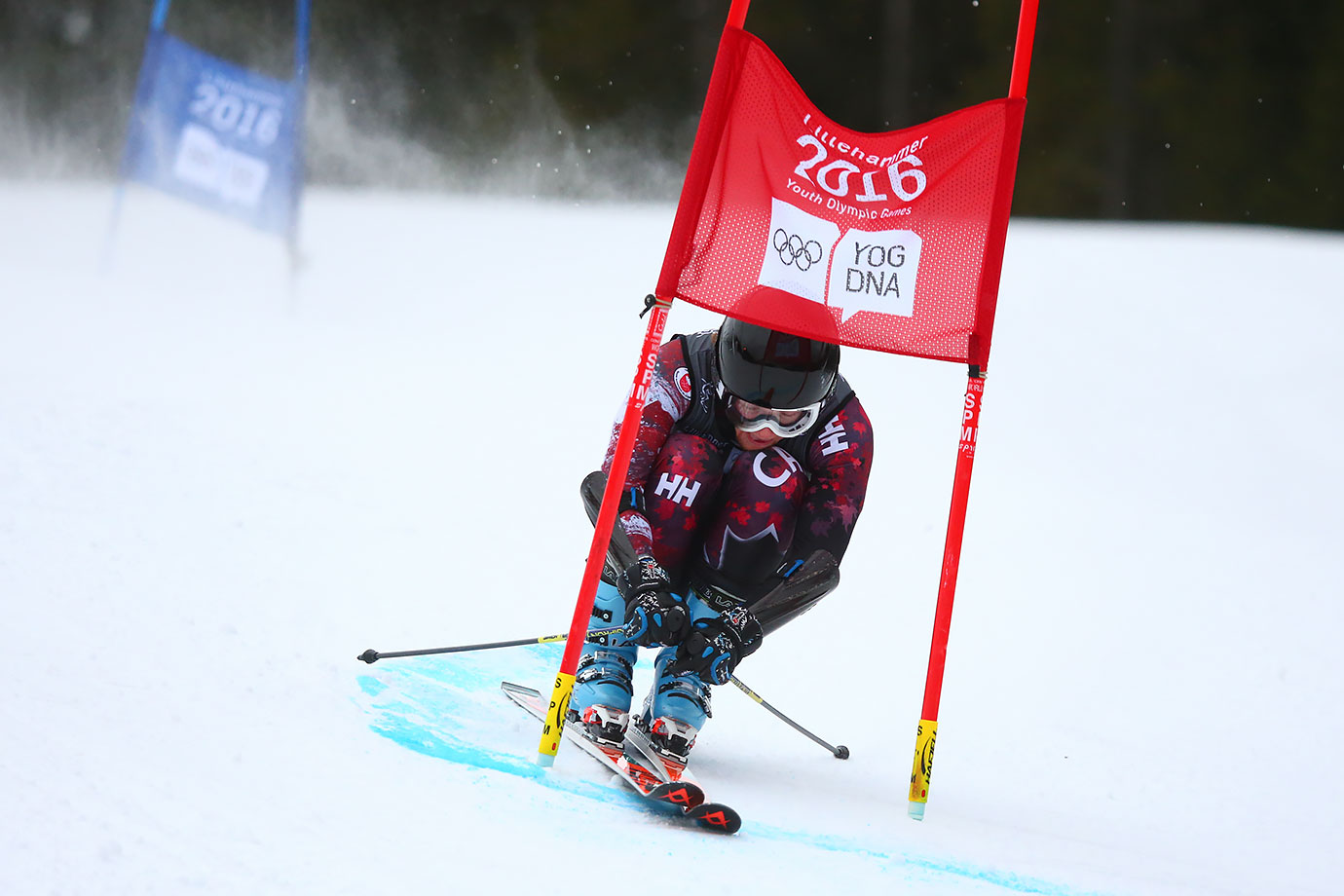 Ryan Moffat (CAN) competes in the Alpine Skiing Men's Giant Slalom at the Hafjell Olympic Slope on Feb. 17, 2016 during the Winter Youth Olympic Games in Lillehammer, Norway.