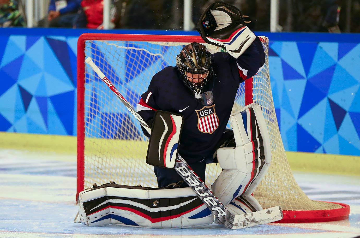 Drew DeRidder (USA) makes a save in the third period of the Men's Ice Hockey Preliminary Round Game between the USA and Russia at the Youth Hall on Feb. 18, 2016 during the Winter Youth Olympic Games in Lillehammer, Norway.