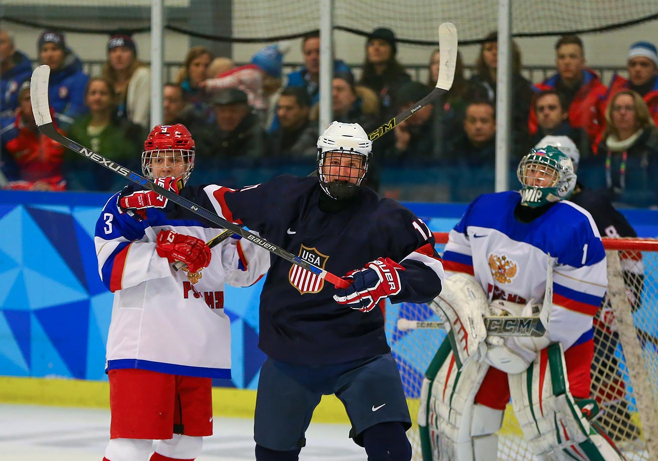 Jack DeBoer (USA) celebrates his goal in the Men's Ice Hockey Preliminary Round Game between the USA and Russia at the Youth Hall on Feb. 18, 2016 during the Winter Youth Olympic Games in Lillehammer, Norway.