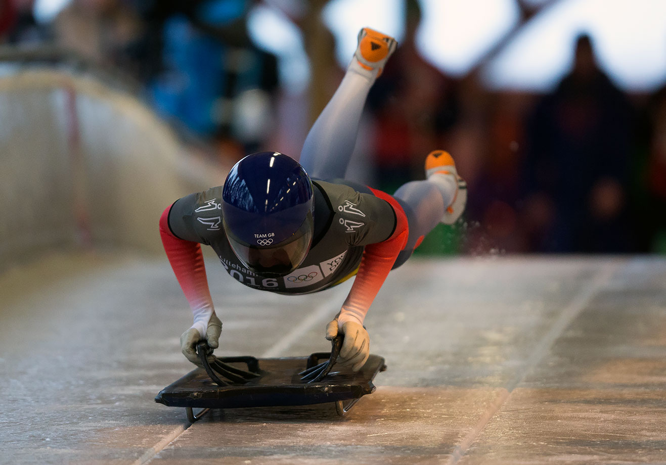 Ashleigh Fay Pittaway (GBR) competes in the Women's Individual Skeleton at Lillehammer Olympic Sliding Centre on Feb. 19, 2016 during the Winter Youth Olympic Games in Lillehammer, Norway.
