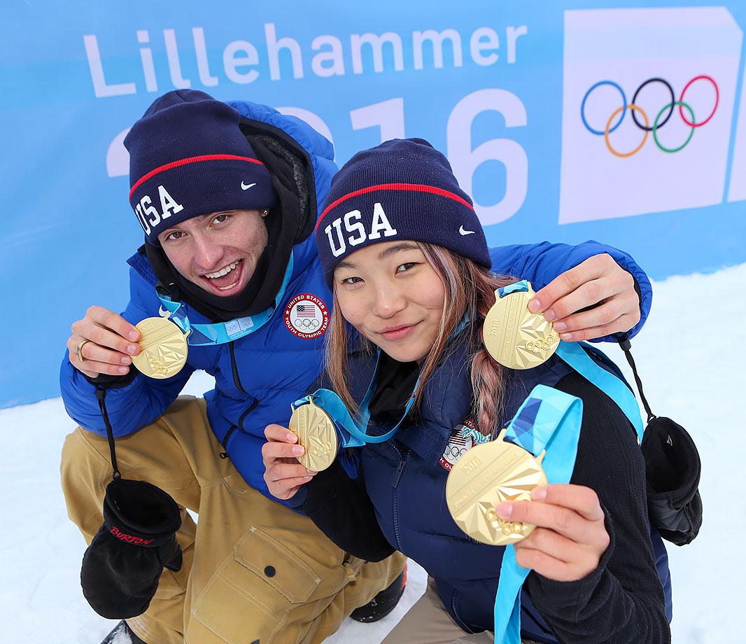 Jake Pates (USA) and Chloe Kim (USA) pose with the Gold Medals they won after the Slopestyle Finals at Hafjell Freepark on Feb. 19, 2016 during the Winter Youth Olympic Games in Lillehammer, Norway.