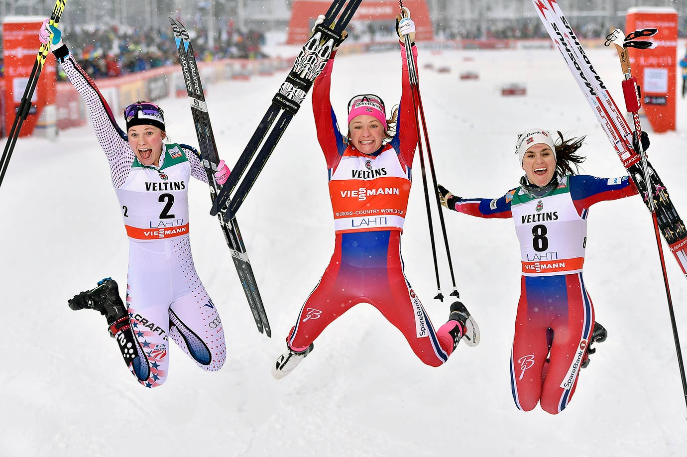 USA's Jessica Diggins, Norway's Maiken Caspersen Falla and Heidi Weng celebrate after medalling in the FIS Nordic World Cup Men's and Women's Cross Country Sprint in Lahti, Finland.