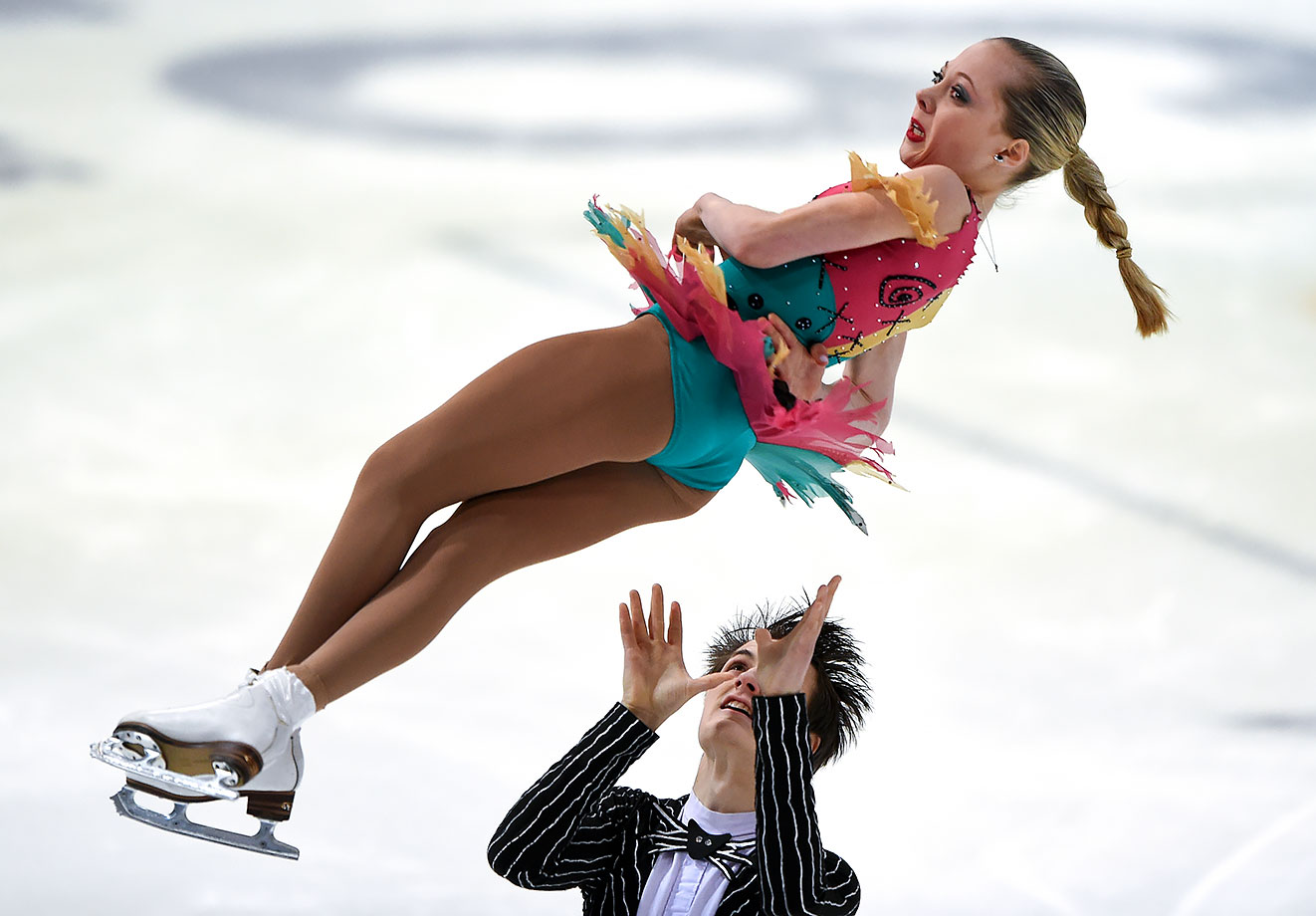 Sarah Rose and Joseph Goodpaster (USA) perform their Free Program in the Figure Skating Mixed NOC Team Pairs event at Hamar Olympic Amphitheatre on Feb. 20, 2016 during the Winter Youth Olympic Games in Lillehammer, Norway.
