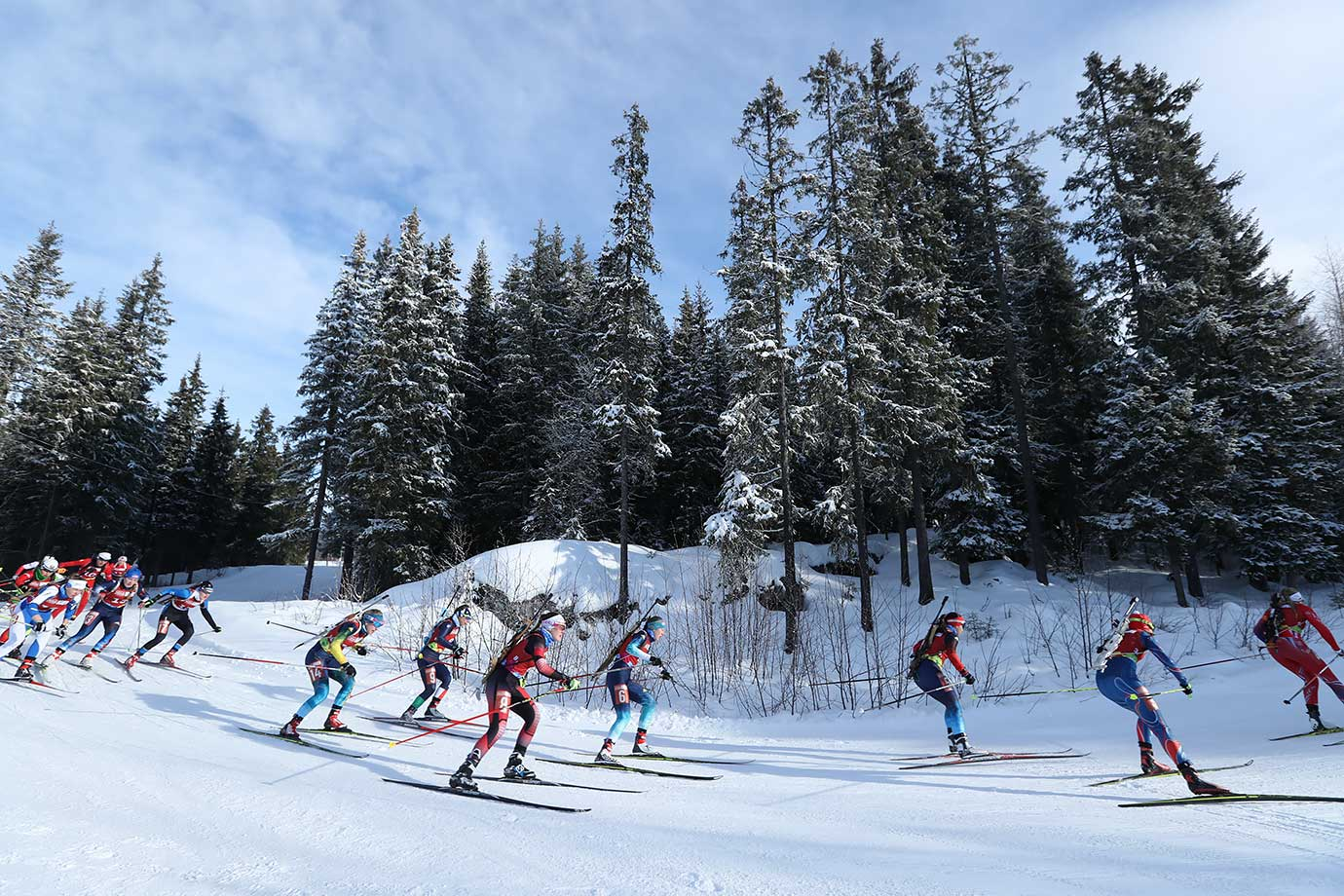 A mass start for the Women in the Biathlon Mixed Relay at Birkebeineren Biathlon Stadium on Feb. 21, 2016 during the Winter Youth Olympic Games in Lillehammer, Norway.