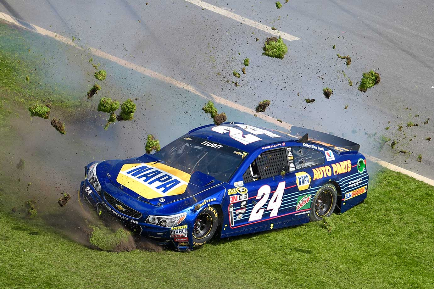 Chase Elliott spins in the grass of the front stretch during the Daytona 500 Sprint Cup series race at Daytona International Speedway in Daytona Beach, Fla.