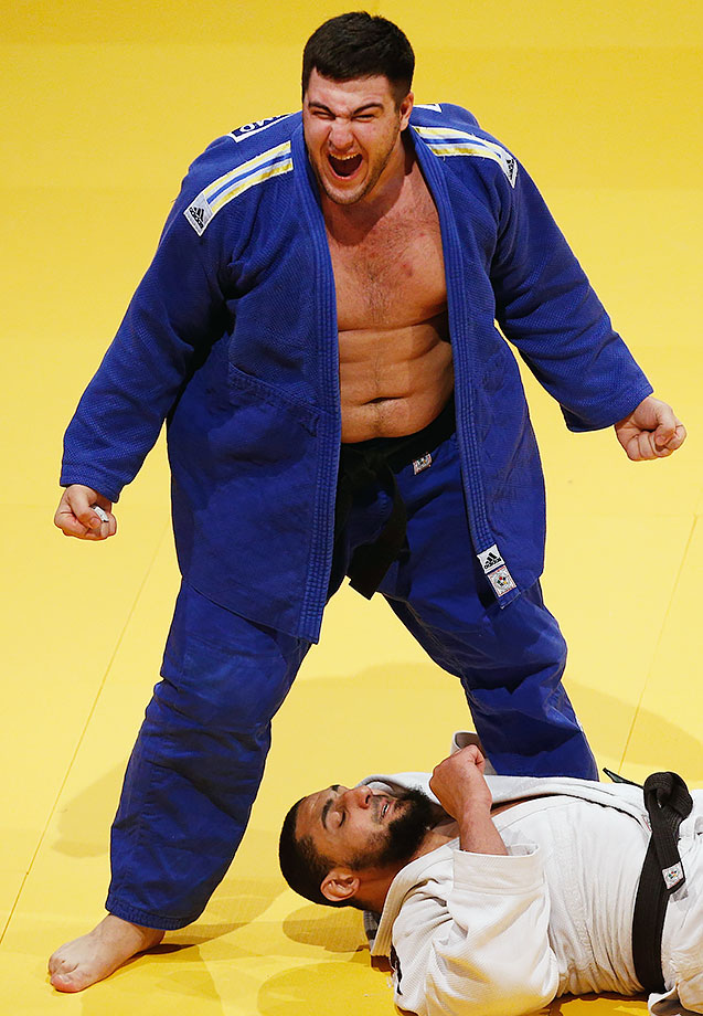 Iakiv Khammo celebrates his victory over Islam El Shehaby during the Dusseldorf Judo Grand Prix in their Mens +100kg Gold Medal match in Dusseldorf, Germany.