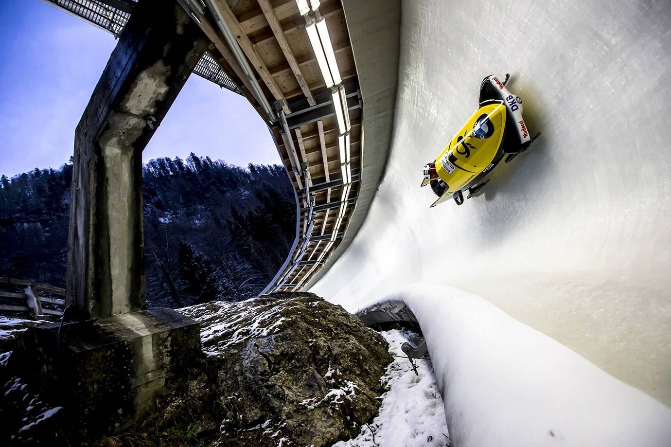 Pilot Miriam Jamaica and her pusher Franziska Bertels of Germany compete in their first run of the women's bobsled competition during the BMW IBSF Bob & Skeleton World Cup in Koenigsee, Germany.