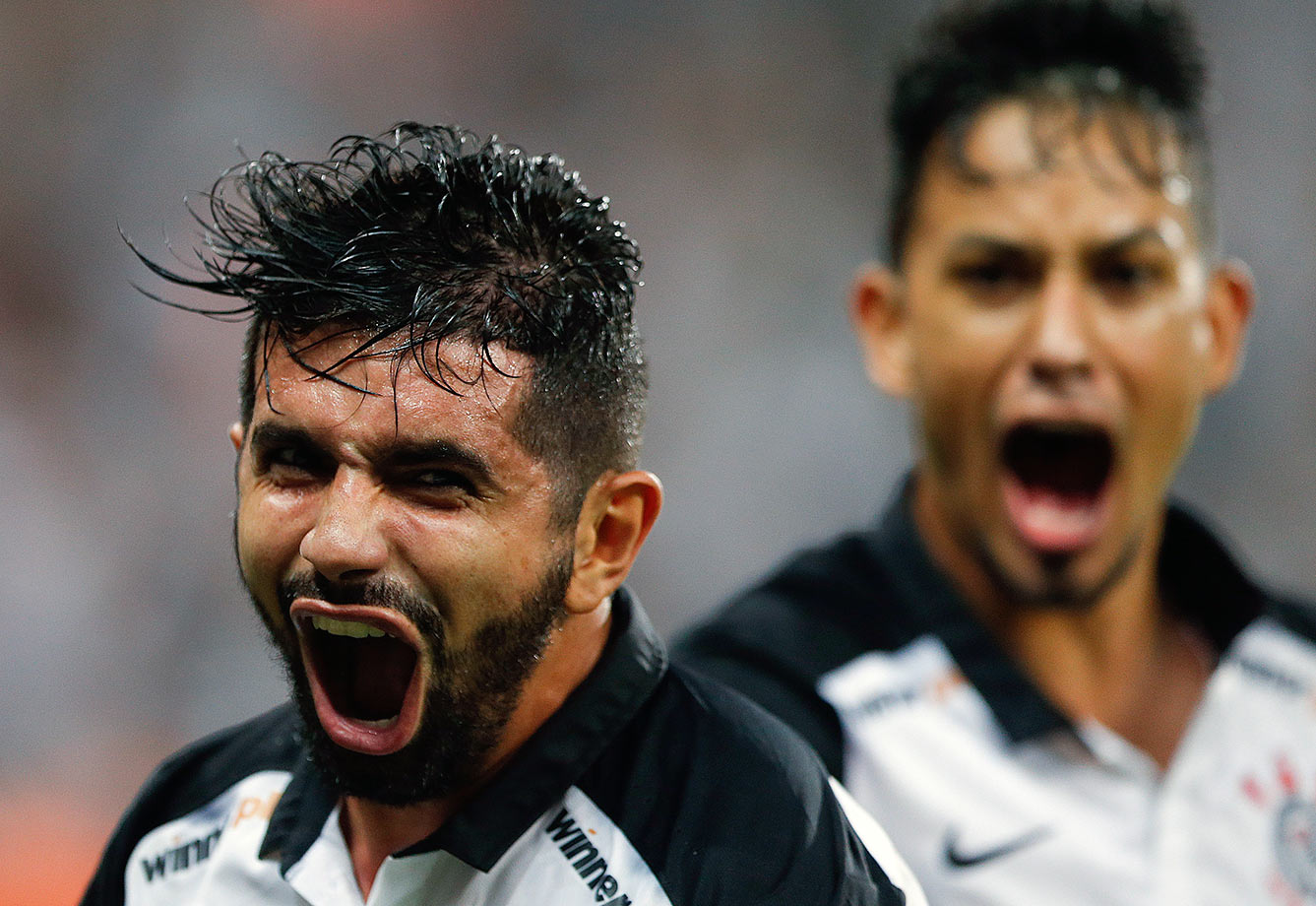 Guilherme of Brazil's Corinthians celebrates his goal against Colombia's Independiente Santa Fe during a Copa Libertadores match in Sao Paulo, Brazil.