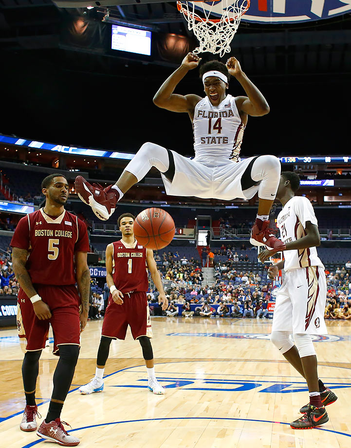 Florida State's Terance Mann reacts after dunking the ball against Boston College during the first half of an Atlantic Coast Conference tournament game in Washington, D.C.