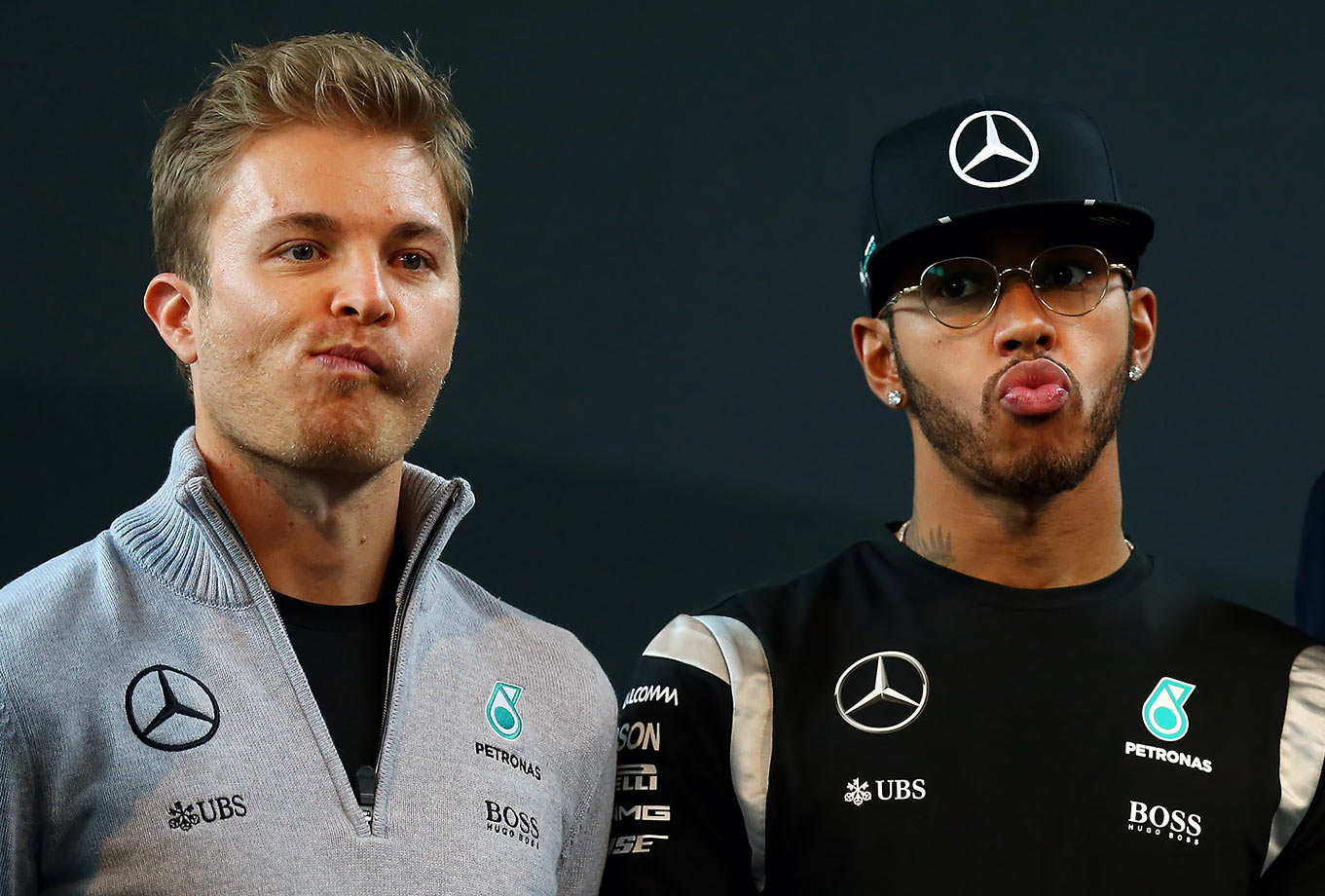 Nico Rosberg poses with Mercedes GP teammate Lewis Hamilton during the Mercedes Benz Motorsport Kickoff in Stuttgart, Germany.