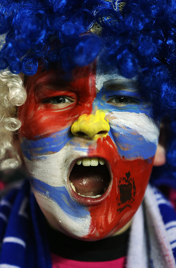 A young Reading fan is pumped prior to their Emirates FA Cup sixth round match against Crystal Palace in Reading, England.