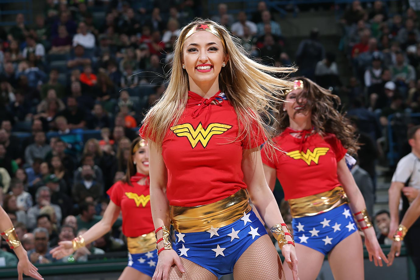 Milwaukee Bucks Dancers perform in Wonder Woman costumes during their game against the New Orleans Pelicans in Milwaukee.