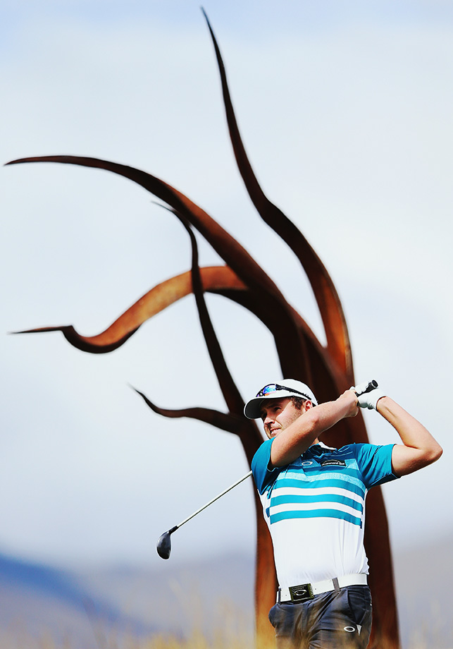 Matthew Griffin of Australia tees off during day four of the New Zealand Open in Queenstown, New Zealand.