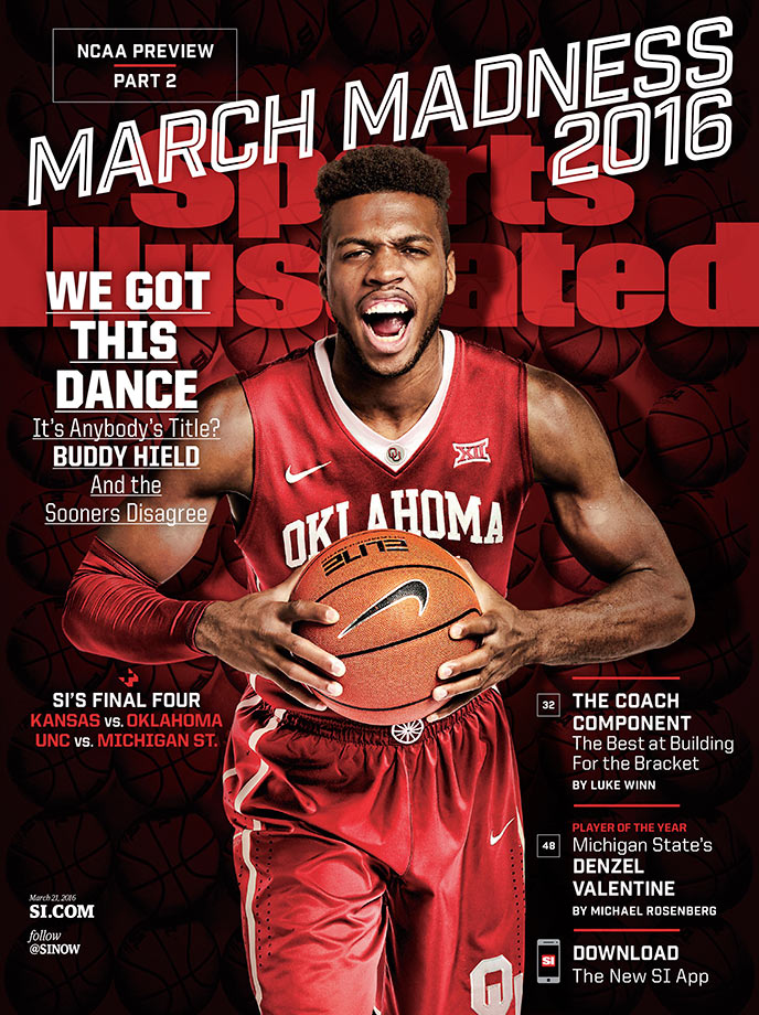 Senior guard Buddy Hield stars on the Oklahoma cover — one of four regional March Madness covers. The Sooners also reach the Final Four in SI's bracket, facing off against Kansas while UNC takes on Michigan State.