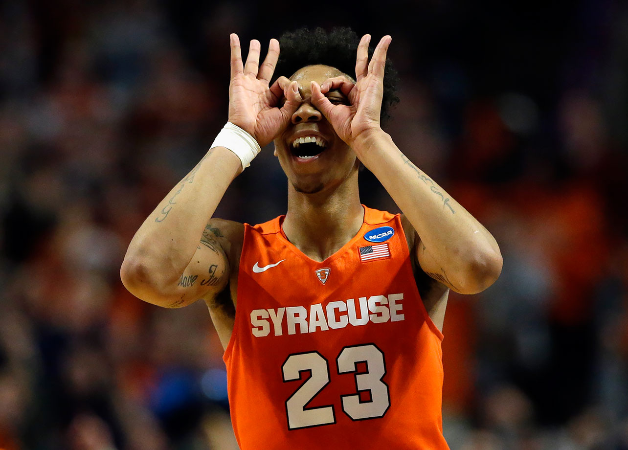 Syracuse guard Malachi Richardson celebrates after making a three point shot during the second half of their game against Virginia in Chicago.