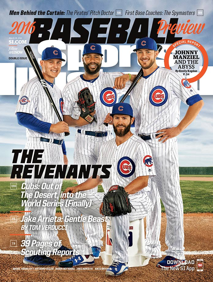 Chicago Cubs Anthony Rizzo, Jason Heyward, Kris Bryant and Jake Arrieta are projected to be the NL Central winners and the World Series runners-up. Their cover is accompanied by a Tom Verducci profile of 2015 Cy Young winner Arrieta.