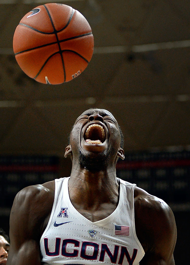 UConn Huskies center Amida Brimah reacts after dunking against the North Florida Ospreys on Dec. 18, 2016 at Harry A. Gampel Pavilion in Storrs, Conn.