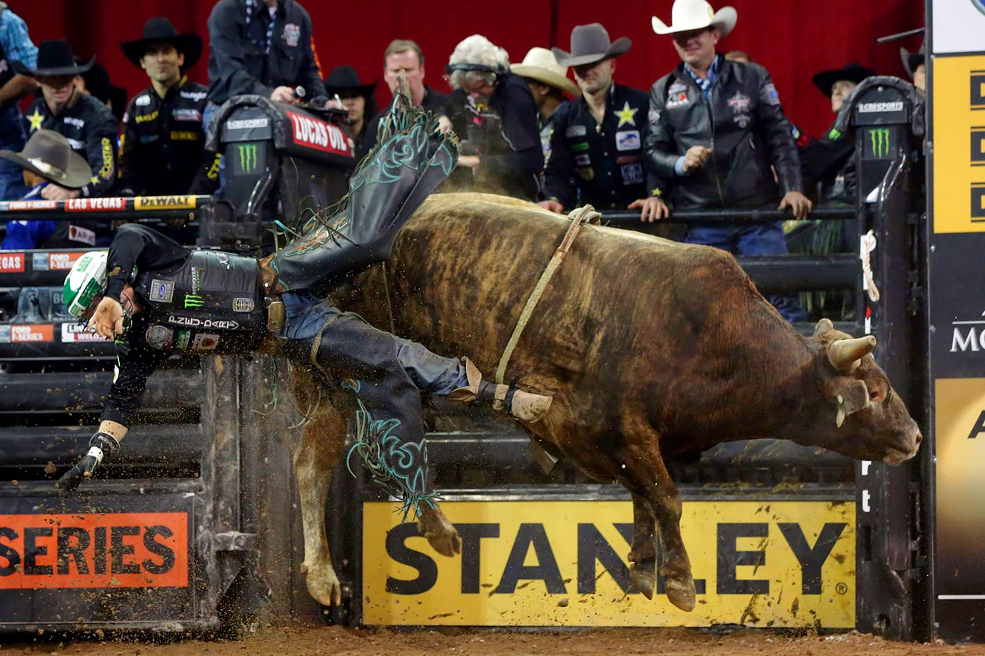 Gage Gay falls from bull Savage Jacket during the Professional Bull Riders Buck Off in Madison Square Garden.