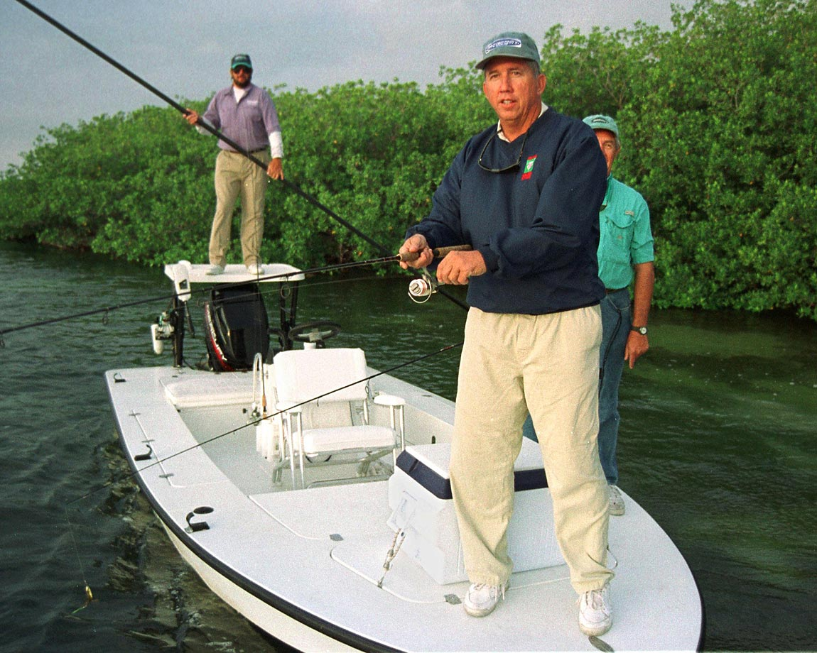 The former Baltimore Orioles manager casts his line at a 1997 fishing tournament and fundraiser for cystic fibrosis research. Three days before this photo was taken, Johnson had been named American League manager of the year.