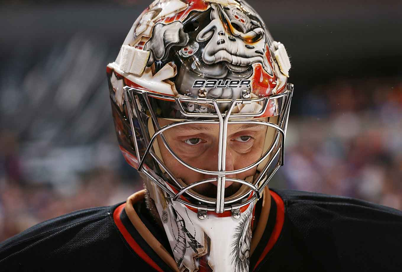 It wasn't Halloween, but journeyman goaltender Jason LaBarbera seemed to have a haunted look as he backstopped the Ducks to a 3-2 win over Colorado at the Pepsi Center in Denver on November 2, 2014.