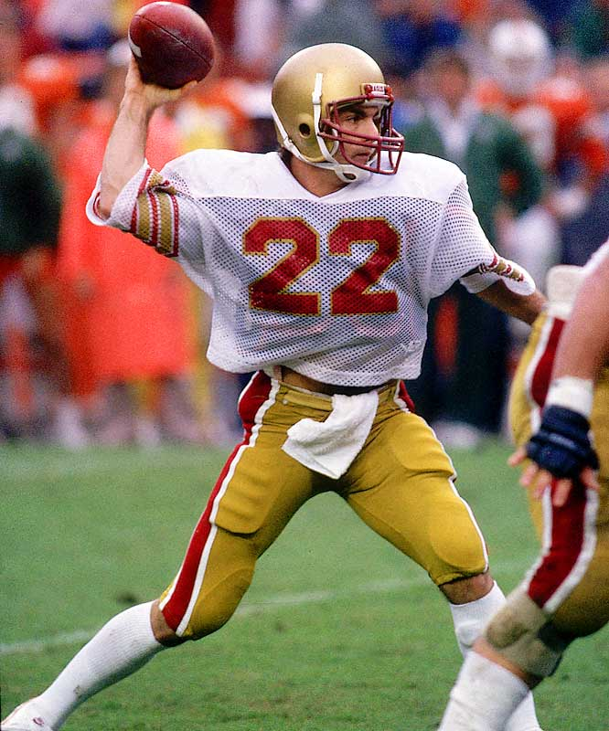 Flutie left Boston College as the NCAA's all-time passing yardage leader with 10,579 yards. His famed ''Hail Mary'' pass in 1984 against Miami sealed his Heisman Trophy award. — Runner-up: Emmitt Smith, RB, Florida (1987-89)