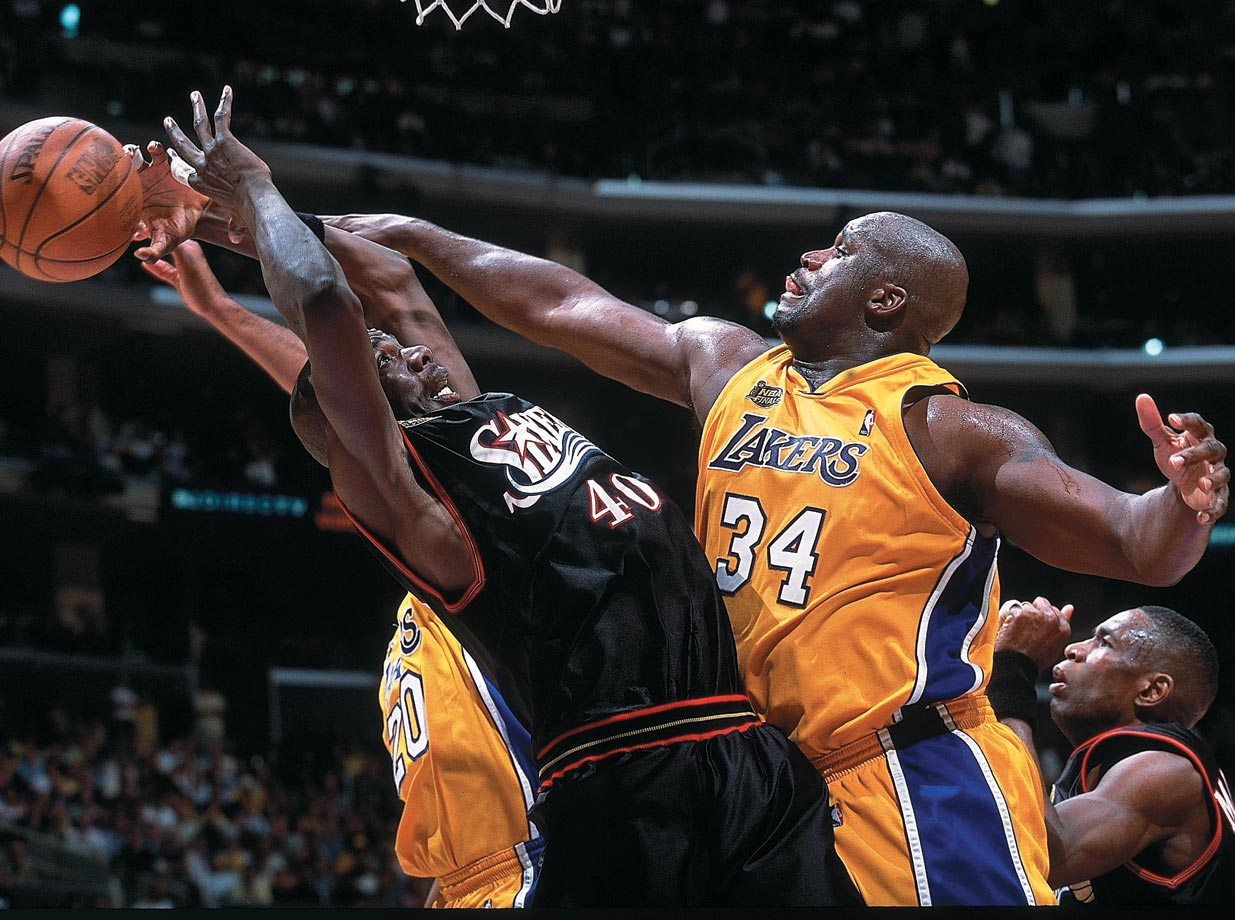 Shaquille O'Neal was simply too much for Philadelphia to handle in the series, winning his second straight Finals MVP honors and contributing a near quadruple-double in Game 2 with 28 points, 20 rebounds, nine assists and eight blocks.