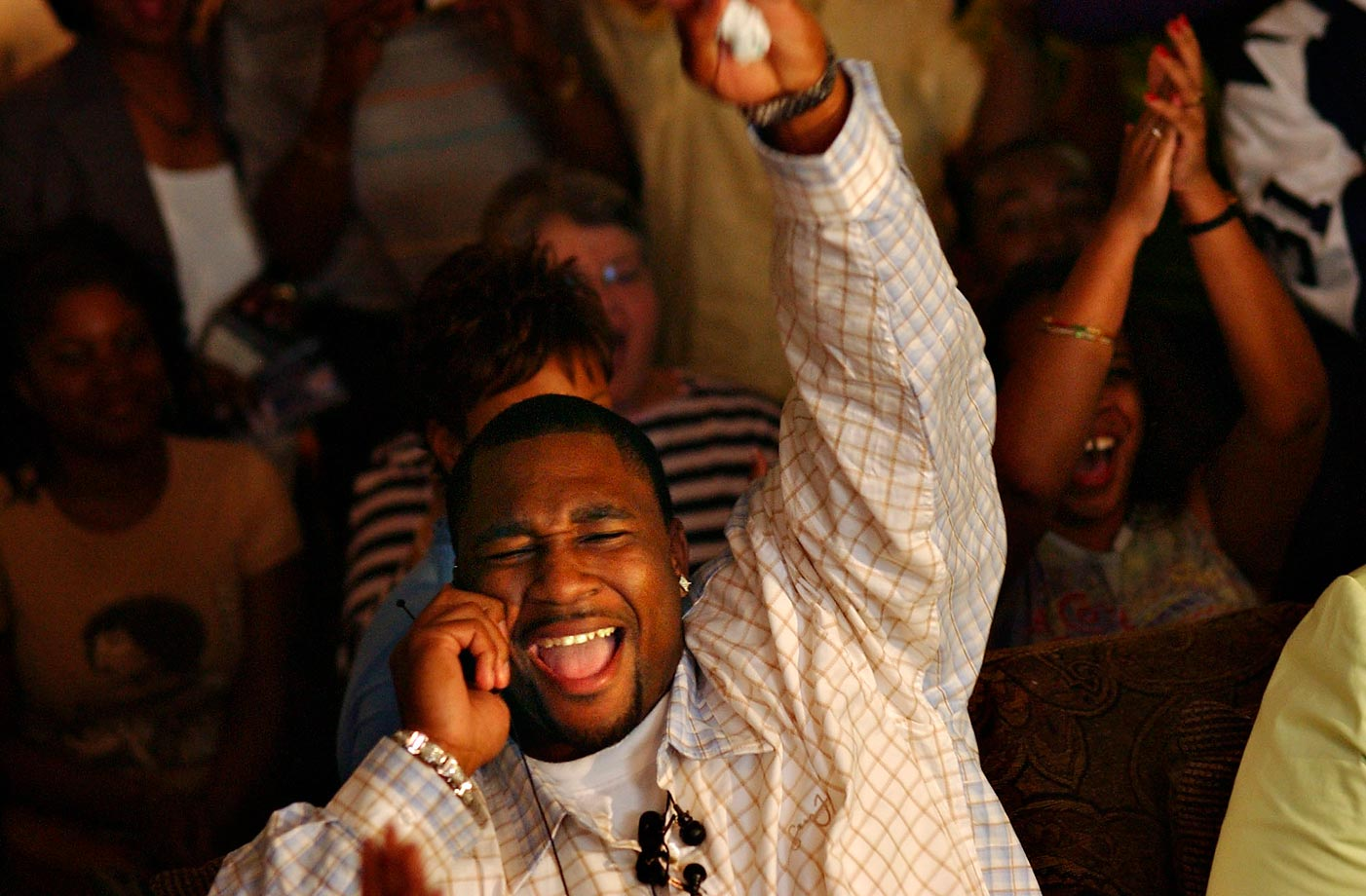 Marcus Spears, who played defensive end for Lousiana State, celebrates while learning he was being drafted 20th by the Dallas Cowboys in 2005.