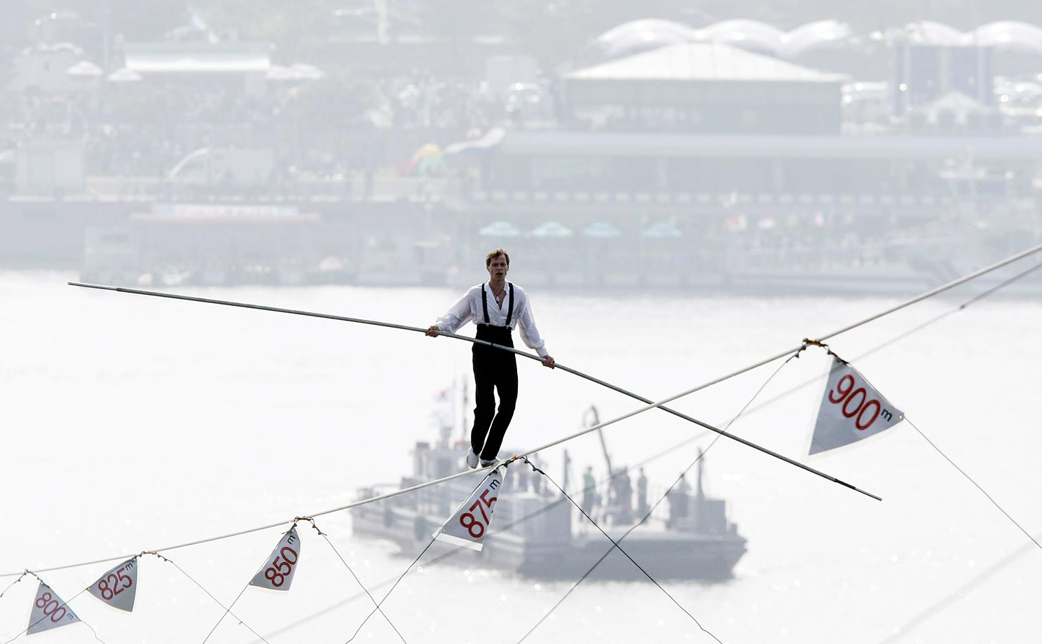 Jade Kindar-Martin of the United States walks the high wire during the World High Wire Championships.