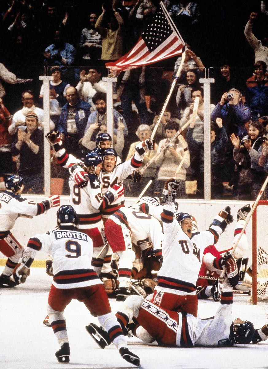 1980 Olympics, Feb. 22, 1980 | The impossible had been accomplished, and it was time to celebrate. The United States upset the unbeatable Soviet Union 4-3 on Mike Eruzione's game-winning goal to finish Miracle on Ice and advance to the gold medal game (which it also won).