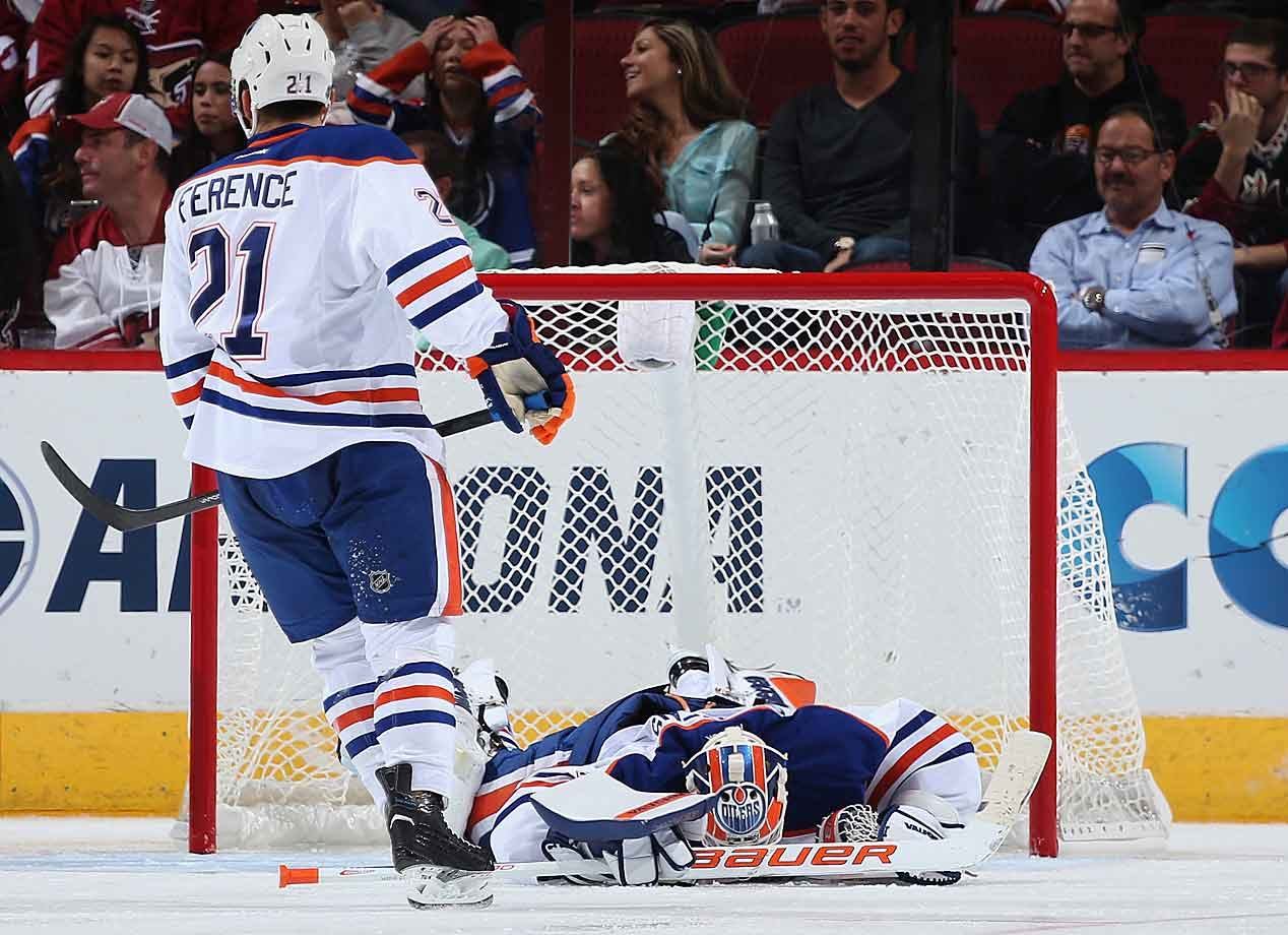 It's been a rough start for the perpetually promising but perennially disappointing Oilers, who saw their goaltenders allow 27 pucks into their net—including seven in this Oct. 15 tilt against the Coyotes—during the team's first six games.