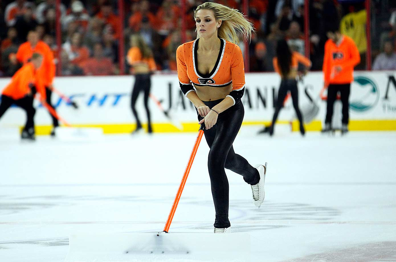Many Philly fans were delighted when the team decided to reinstate its all-female ice maintenance crew after it had been shelved during the preseason. Alas, an all-male version had not been warmly received.