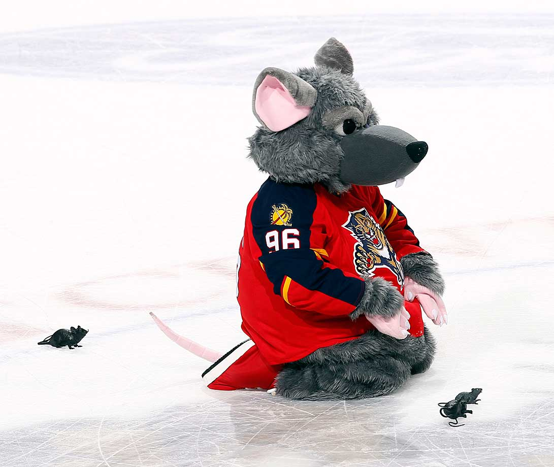 Florida's BB&T Center appears to have a rodent infestation during a game against the Philadelphia Flyers on November 1, 2014.