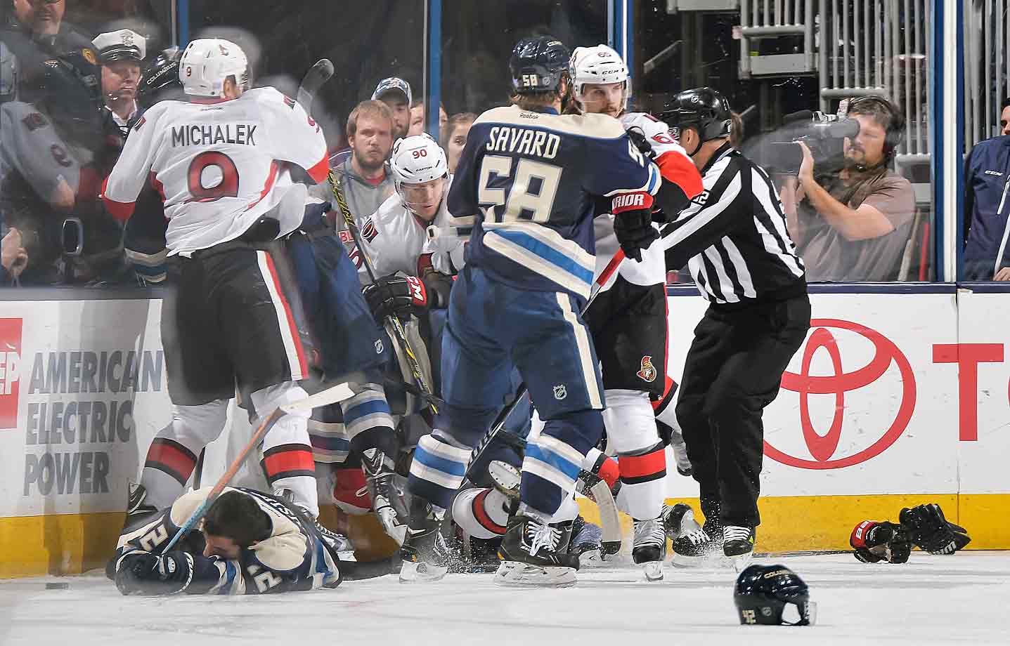The teams exchanged pleasantries at Nationwide Arena in Columbus after Blue Jackets defenseman Artem Anisimov was sent to the ice by a head shot during their game on Oct. 28, 2014.