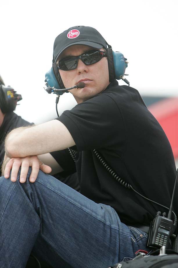 NASCAR Camping World Truck Series team owner Kevin Harvick has his game face on during a 2009 race at Auto Club Speedway in Fontana, Calif.